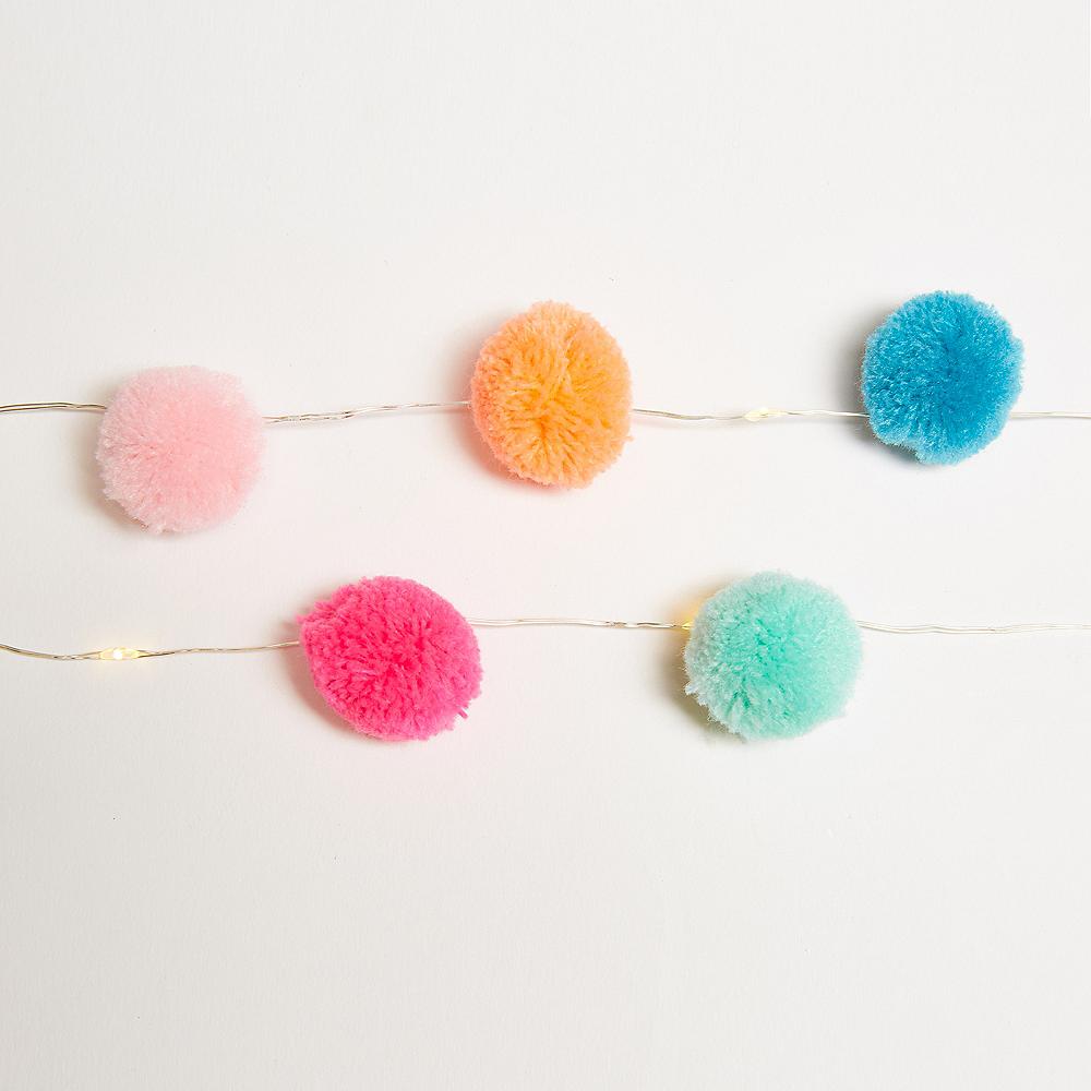 Colorful Pom-Pom LED String Lights Image #1