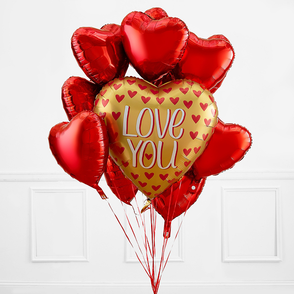 Gold & Red Heart Valentine's Day Balloon Bouquet Image #1