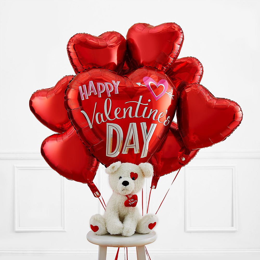 Heart Balloons & Puppy Plush Valentine's Day Kit Image #1