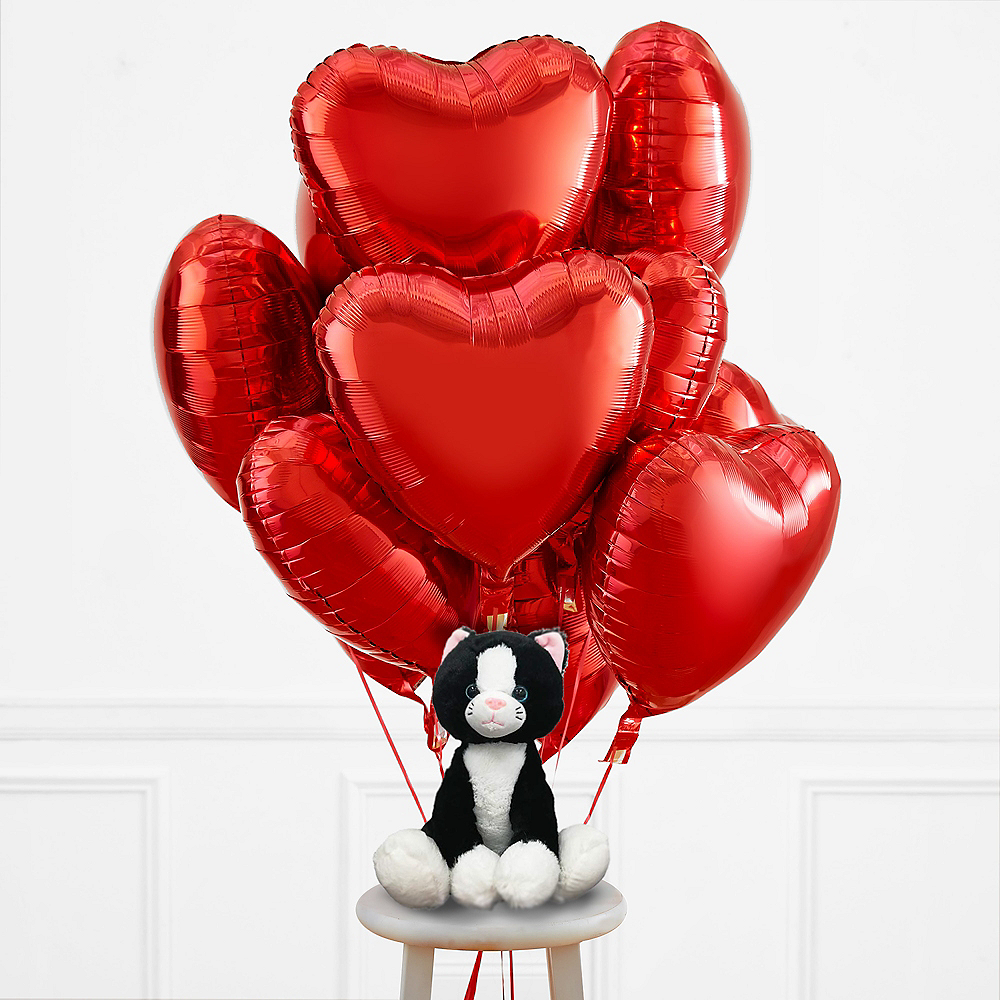 Heart Balloons & Cat Plush Valentine's Day Kit Image #1