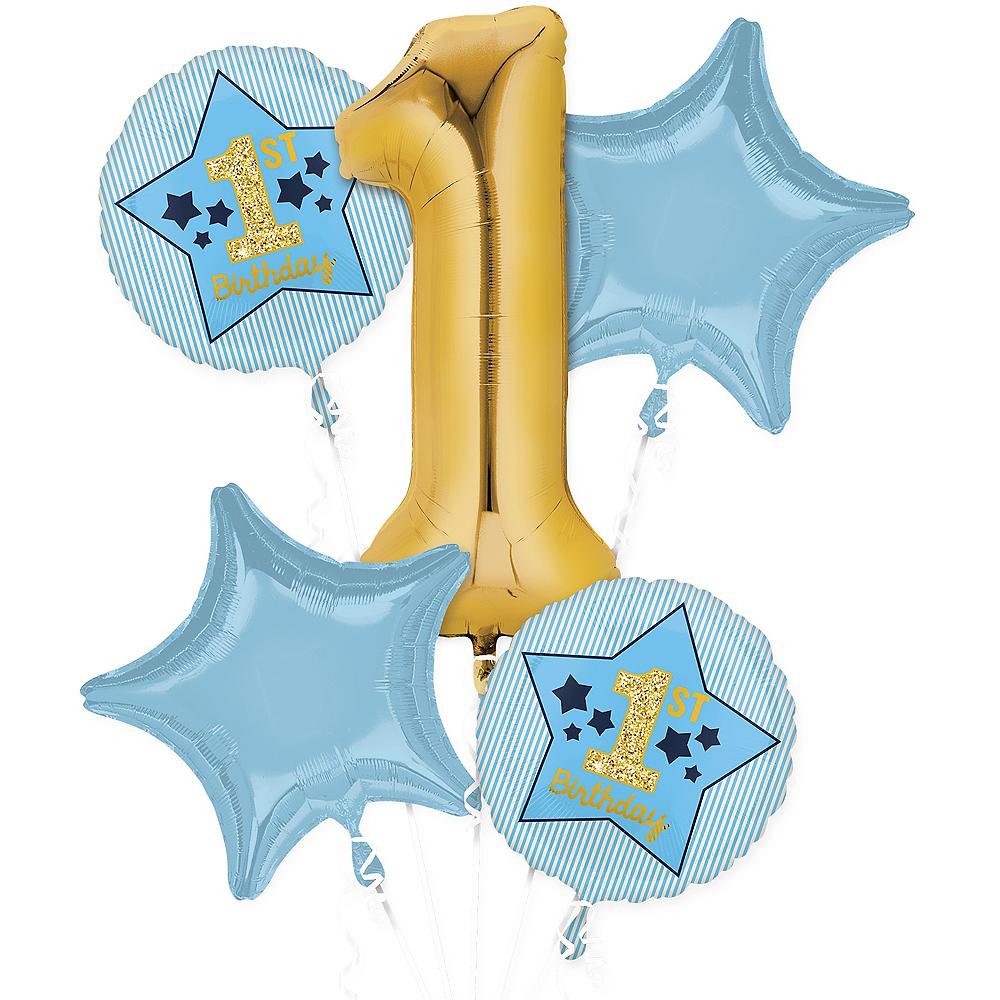Metallic Gold & Blue 1st Birthday Balloon Bouquet 5pc Image #1