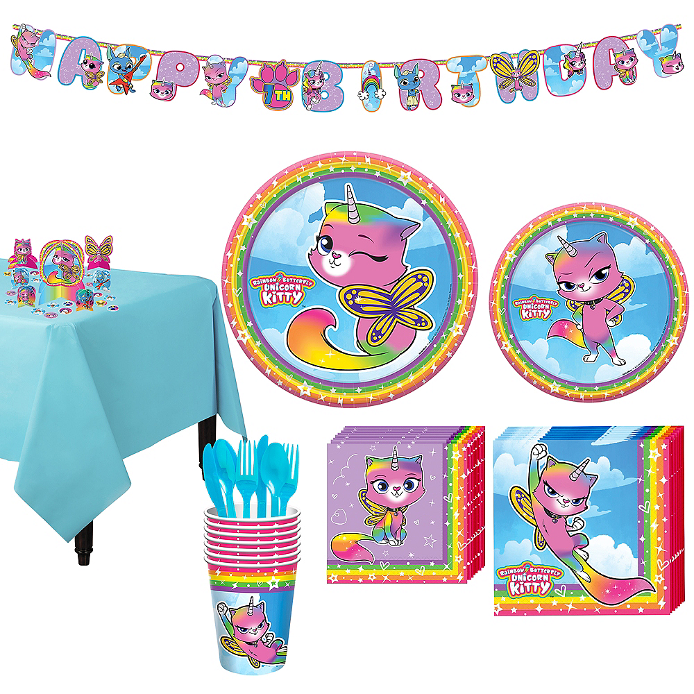 Rainbow Butterfly Unicorn Kitty Tableware Kit for 8 Guests Image #1