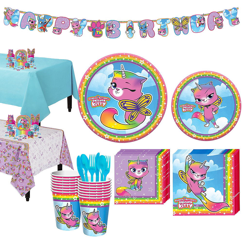 Rainbow Butterfly Unicorn Kitty Tableware Kit for 16 Guests Image #1