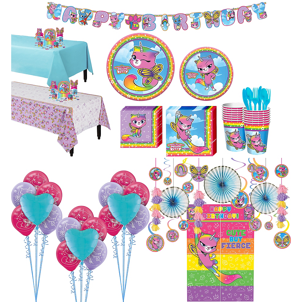 Ultimate Rainbow Butterfly Unicorn Kitty Party Kit for 16 Guests Image #1