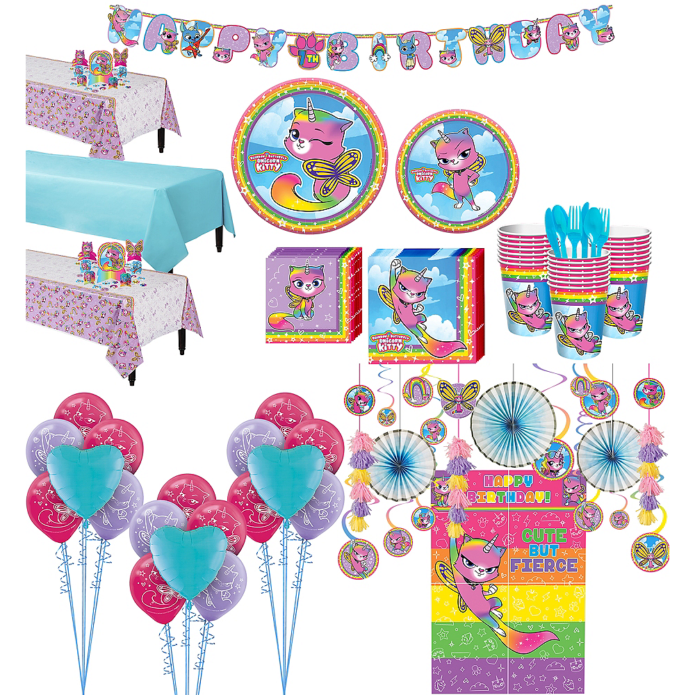 Ultimate Rainbow Butterfly Unicorn Kitty Party Kit for 24 Guests Image #1