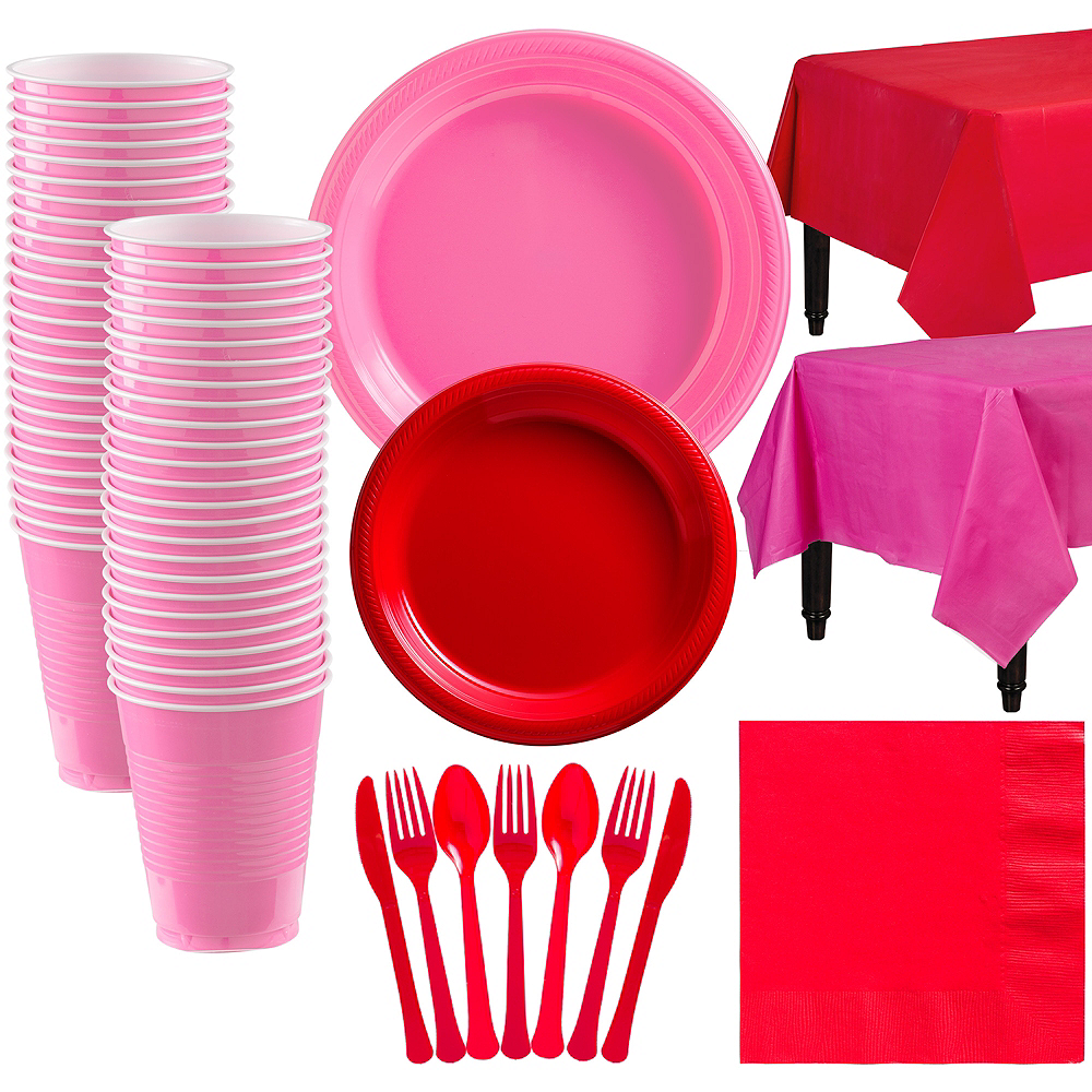 Red & Pink Plastic Tableware Kit for 50 Guests Image #1