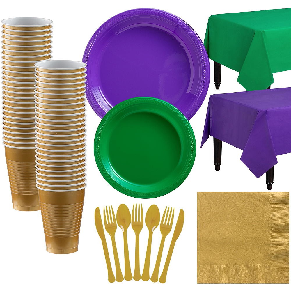 Festive Green & Purple Plastic Tableware Kit for 50 Guests Image #1