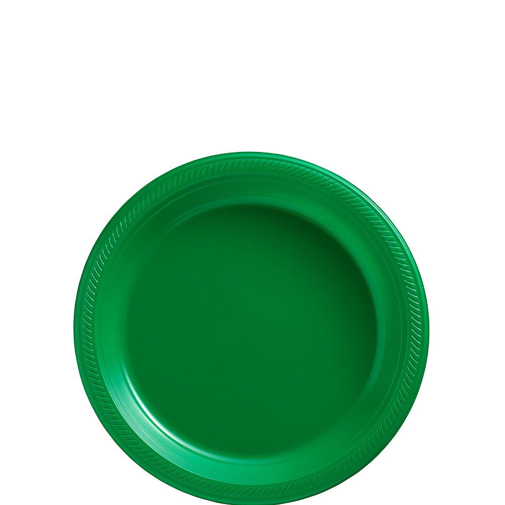 Festive Green & Purple Plastic Tableware Kit for 50 Guests Image #2