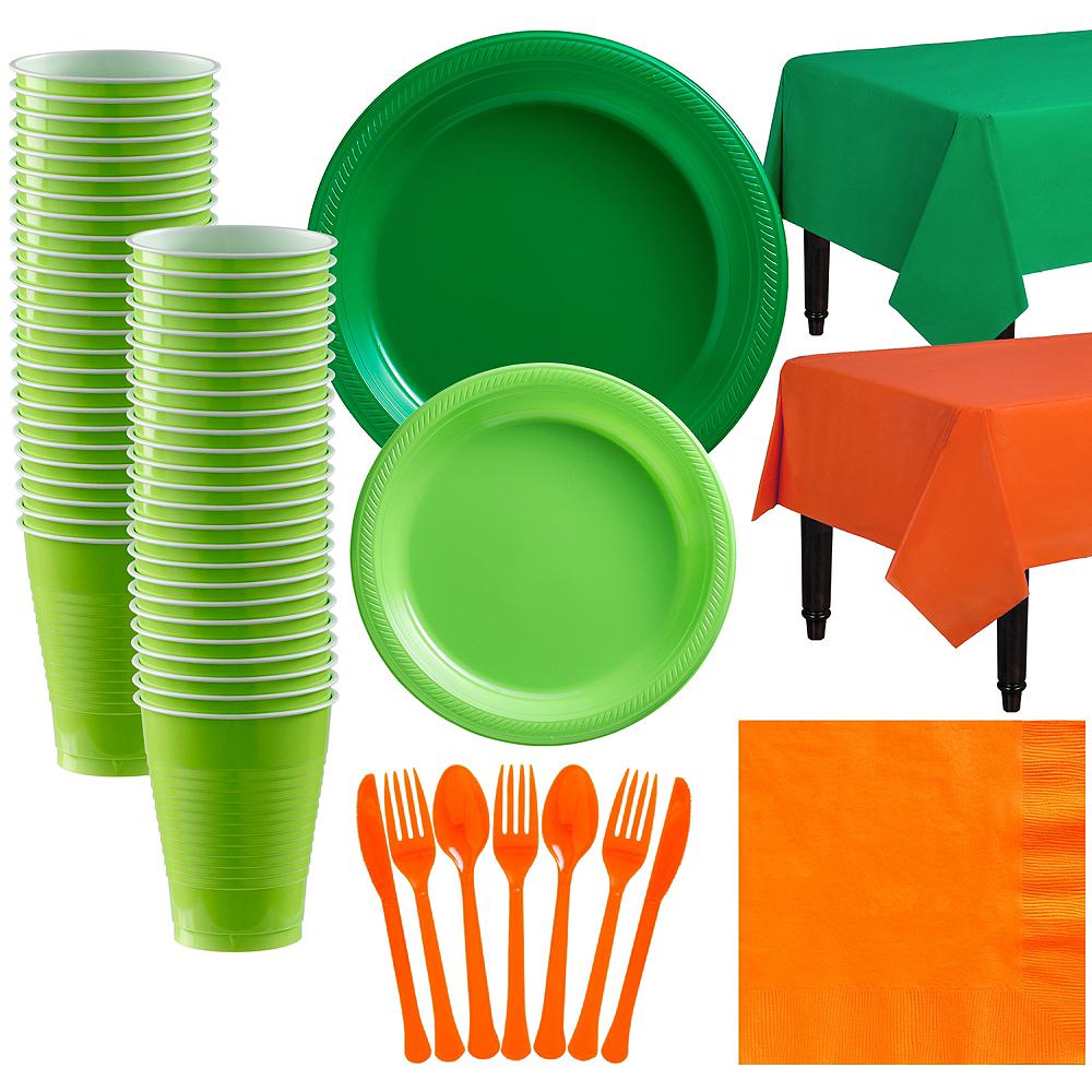 Festive Green & Kiwi Green Plastic Tableware Kit for 50 Guests Image #1