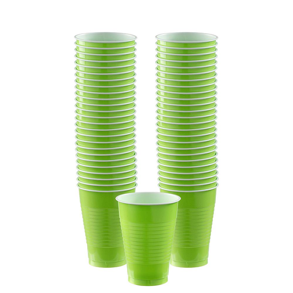 Festive Green & Kiwi Green Plastic Tableware Kit for 50 Guests Image #5
