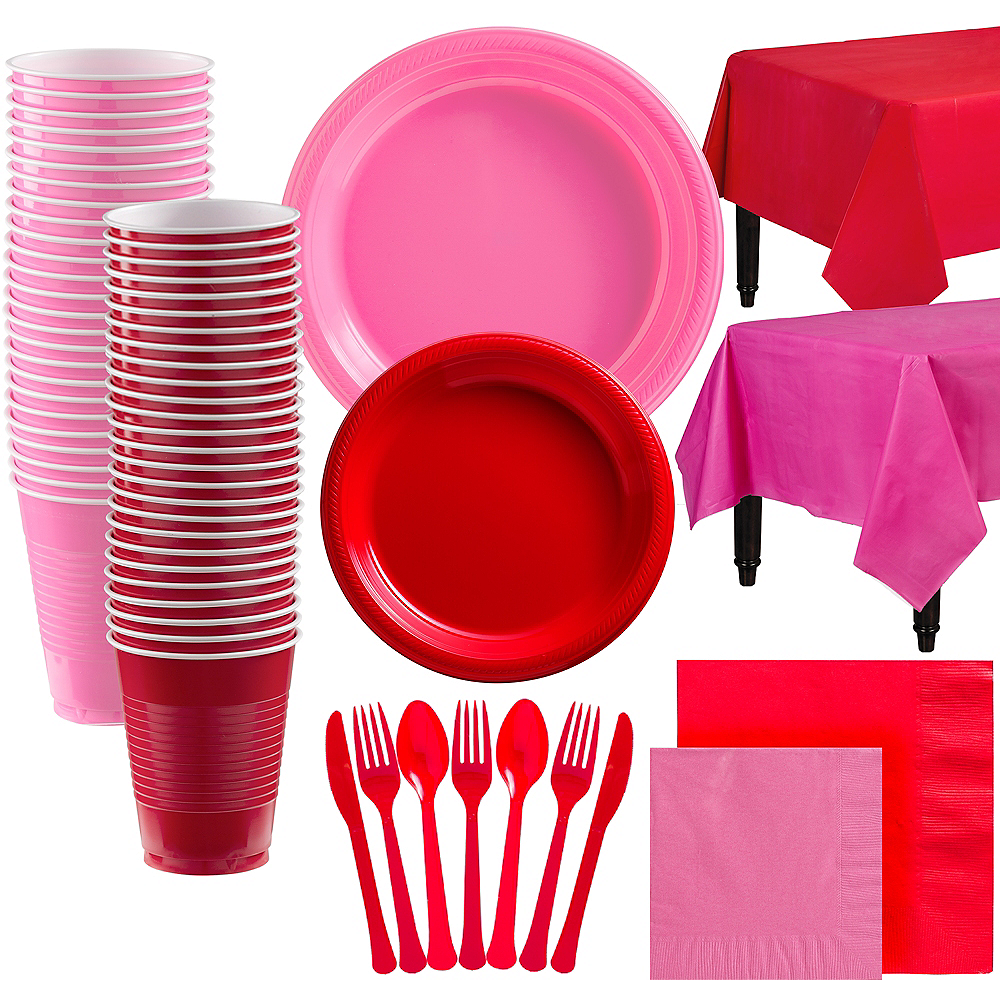 Bright Pink & Red Plastic Tableware Kit for 100 Guests Image #1