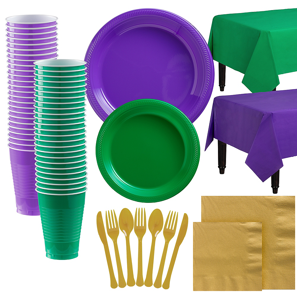Festive Green, Gold & Purple Plastic Tableware Kit for 100 Guests Image #1