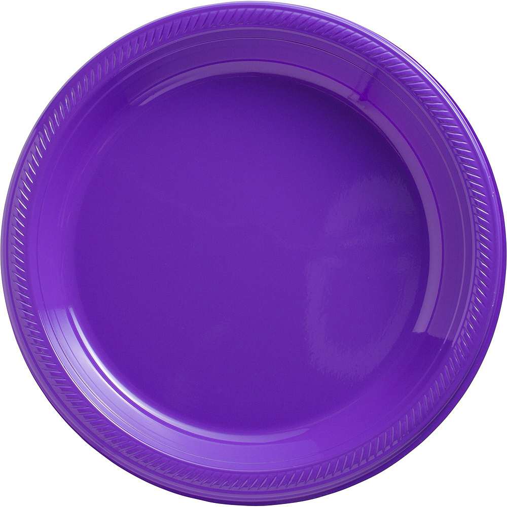 Festive Green, Gold & Purple Plastic Tableware Kit for 100 Guests Image #6