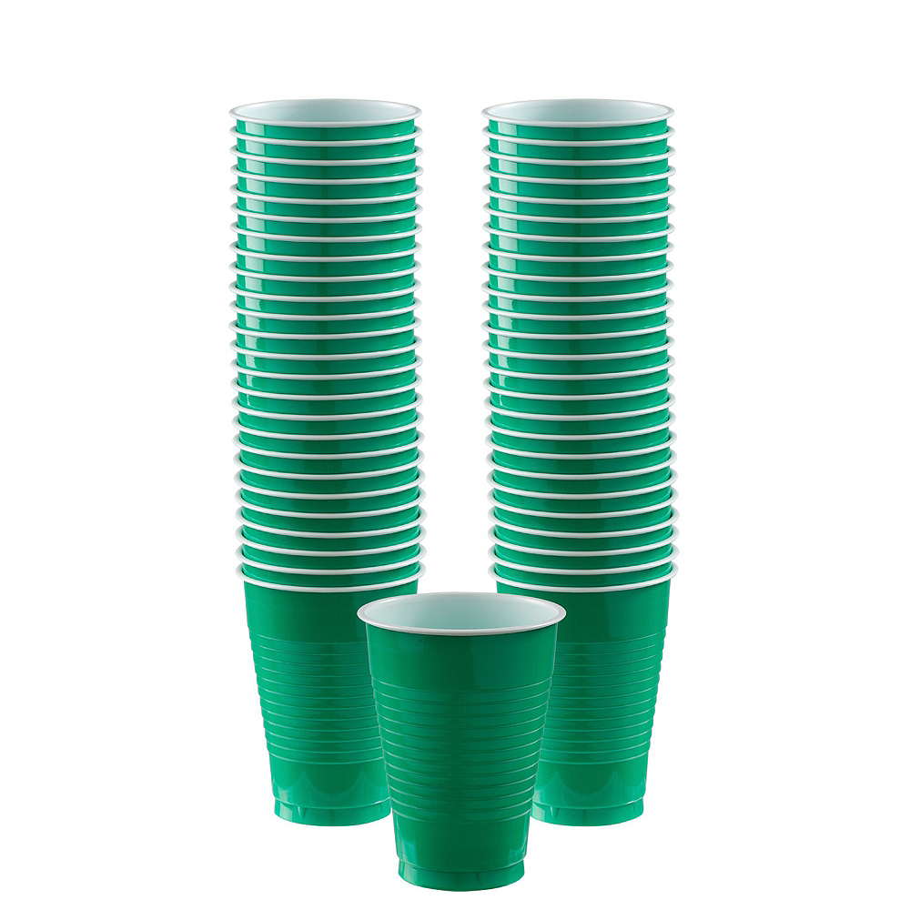 Festive Green, Gold & Purple Plastic Tableware Kit for 100 Guests Image #7