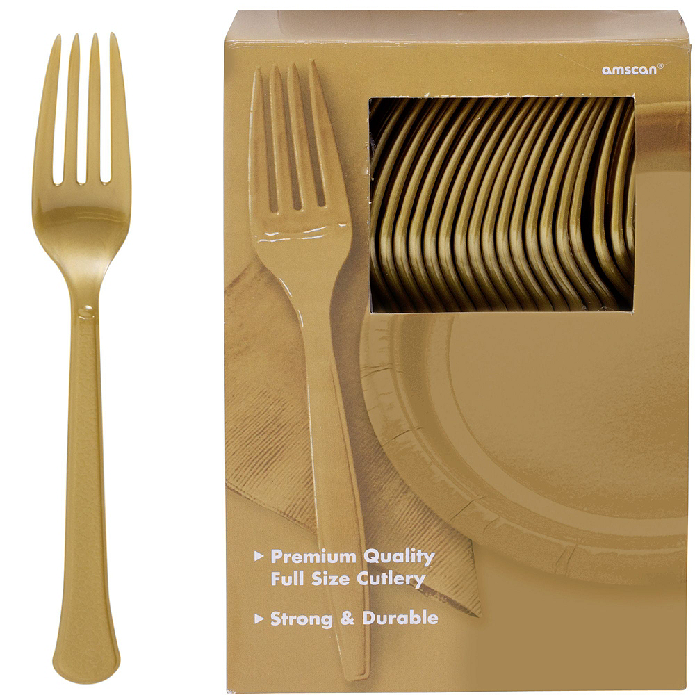 Festive Green, Gold & Purple Plastic Tableware Kit for 100 Guests Image #9