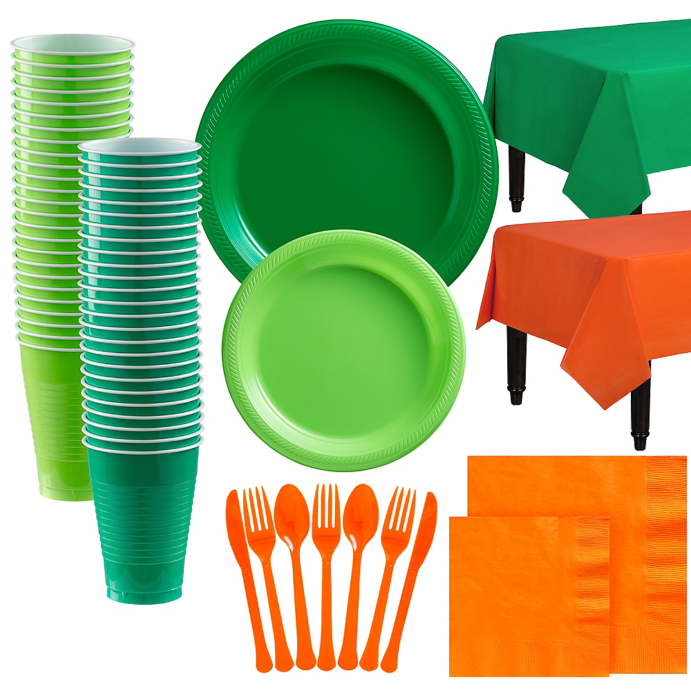Festive Green & Kiwi Green Plastic Tableware Kit for 100 Guests Image #1