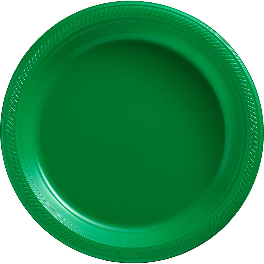 Festive Green & Kiwi Green Plastic Tableware Kit for 100 Guests Image #6