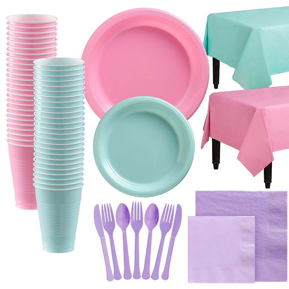 Pastel Plastic Tableware Kit for 100 Guests Image #1