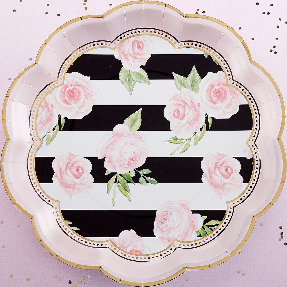 Striped Floral Lunch Plates 8ct Image #2