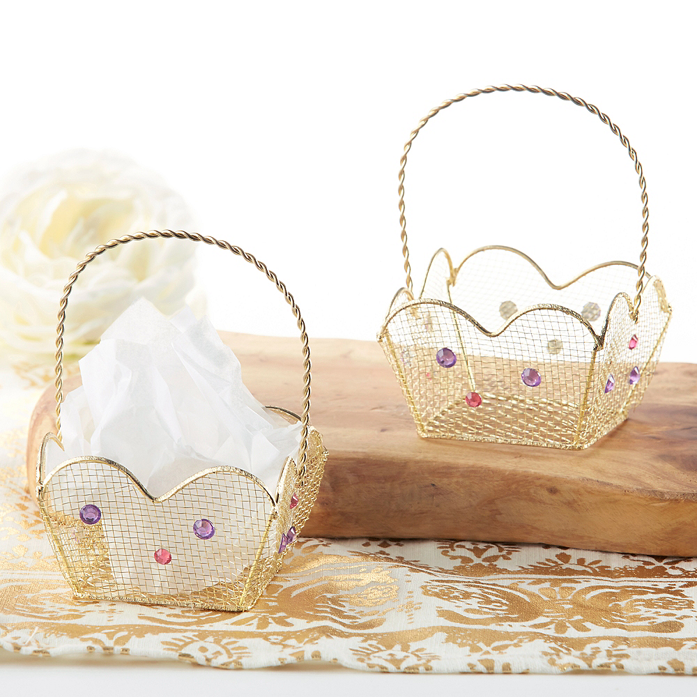 Gold Wire Favor Baskets 6ct Image #1
