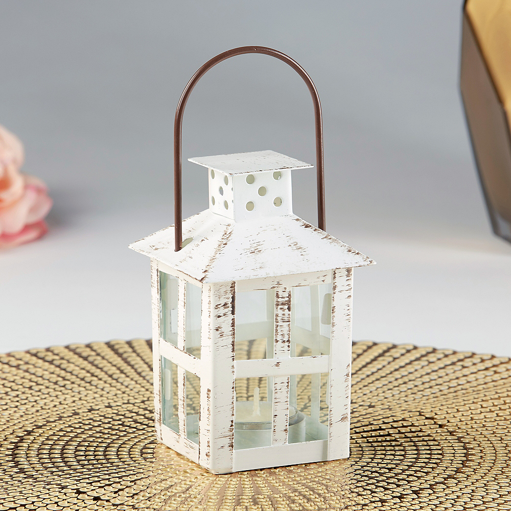 Small Vintage White Lantern Tealight Candle Holder Image #1
