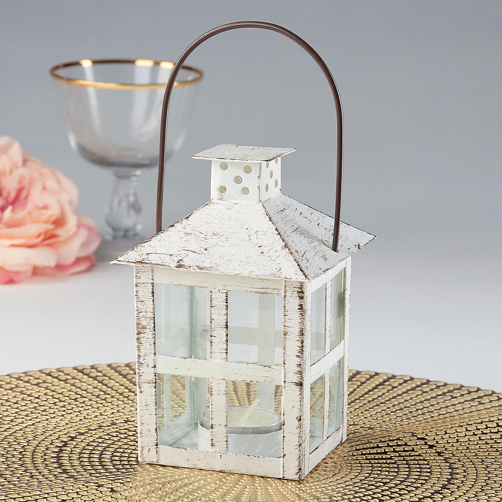 Medium Vintage White Lantern Tealight Candle Holder Image #1
