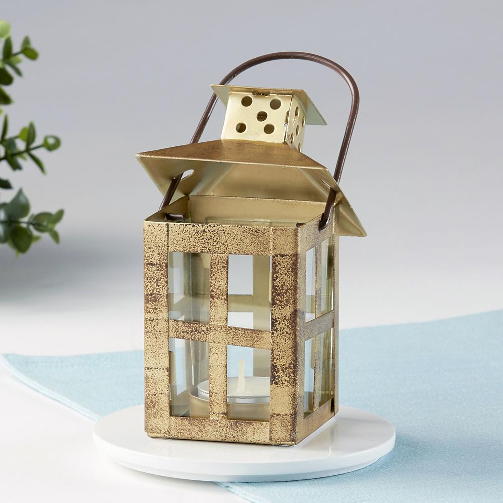 Small Vintage Gold Lantern Tealight Candle Holder Image #2