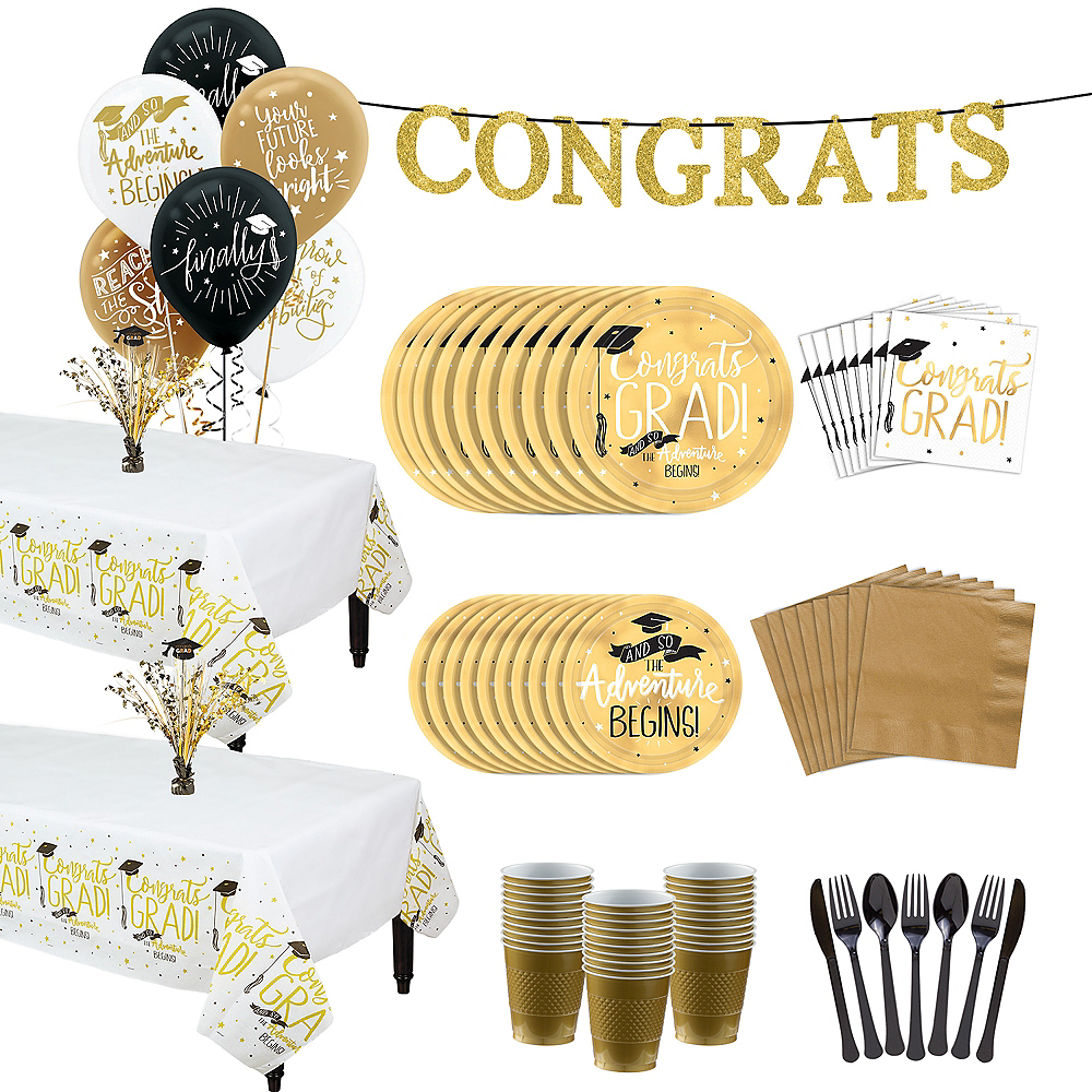The Adventure Begins Graduation Tableware Kit for 32 Guests Image #1
