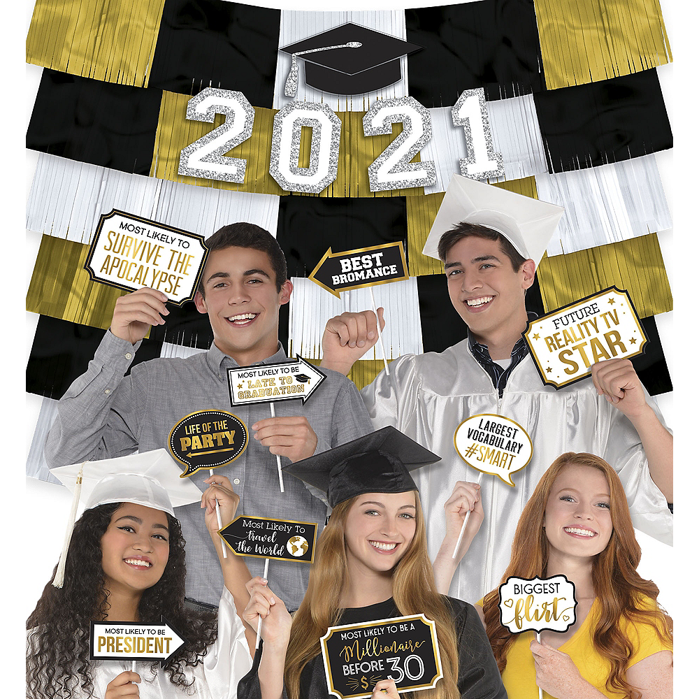 Black & Gold Graduation Photo Booth Kit Image #1