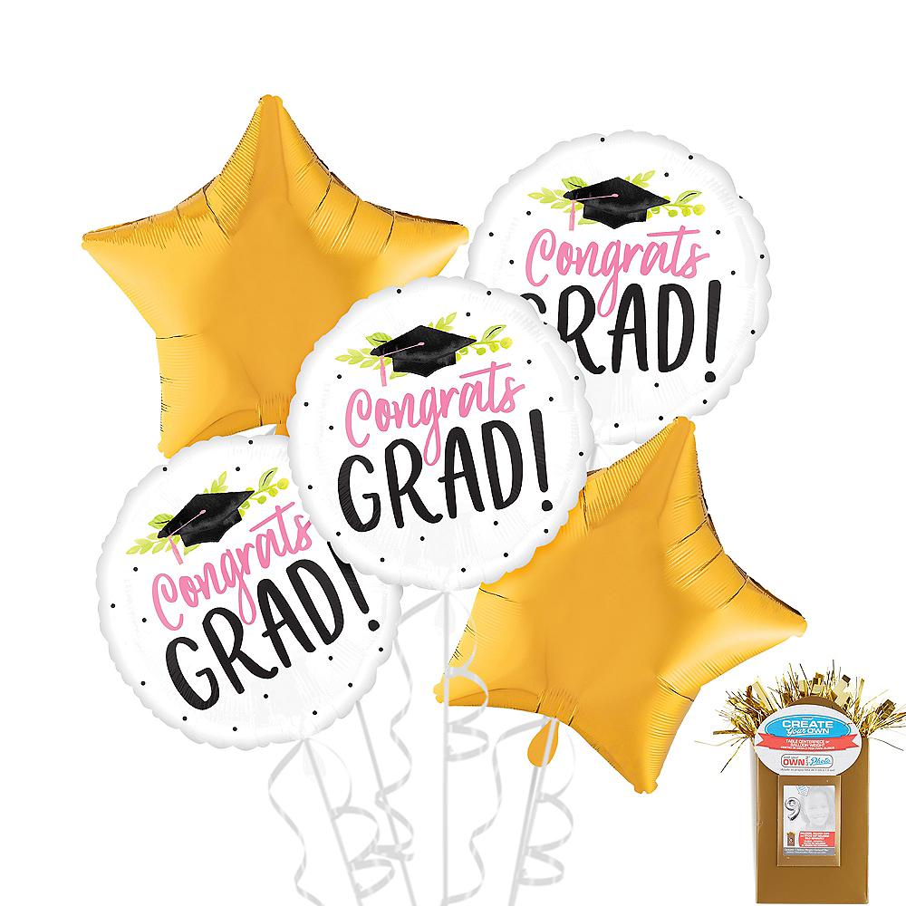 Pink Floral Congrats Grad Graduation Star Balloon Kit Image #1