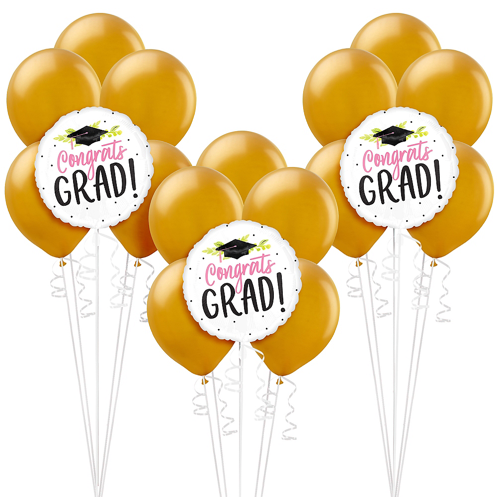 Nav Item for Pink Floral Congrats Grad Graduation Pearl Balloon Kit Image #1