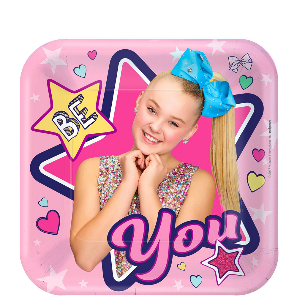 JoJo Siwa Tableware Kit for 16 Guests, 110 Pieces, Includes Table Cover, Plates, Napkins, Cups, and Matching Utensils Image #2