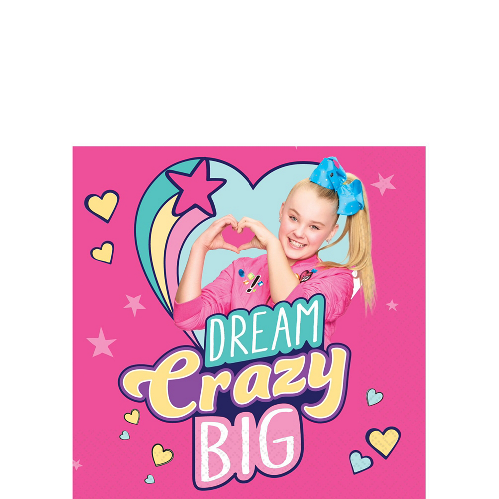JoJo Siwa Tableware Kit for 16 Guests, 110 Pieces, Includes Table Cover, Plates, Napkins, Cups, and Matching Utensils Image #3