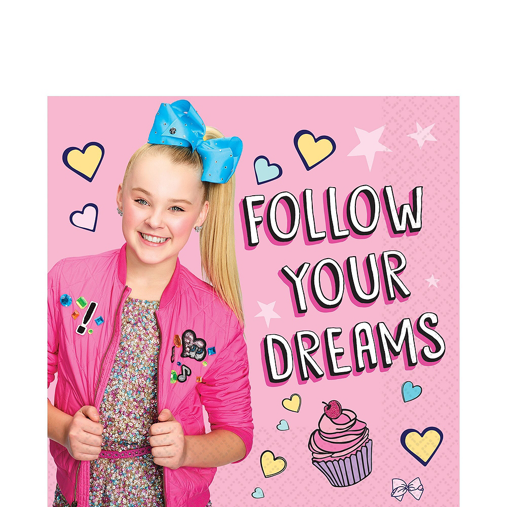 JoJo Siwa Tableware Kit for 16 Guests, 110 Pieces, Includes Table Cover, Plates, Napkins, Cups, and Matching Utensils Image #4