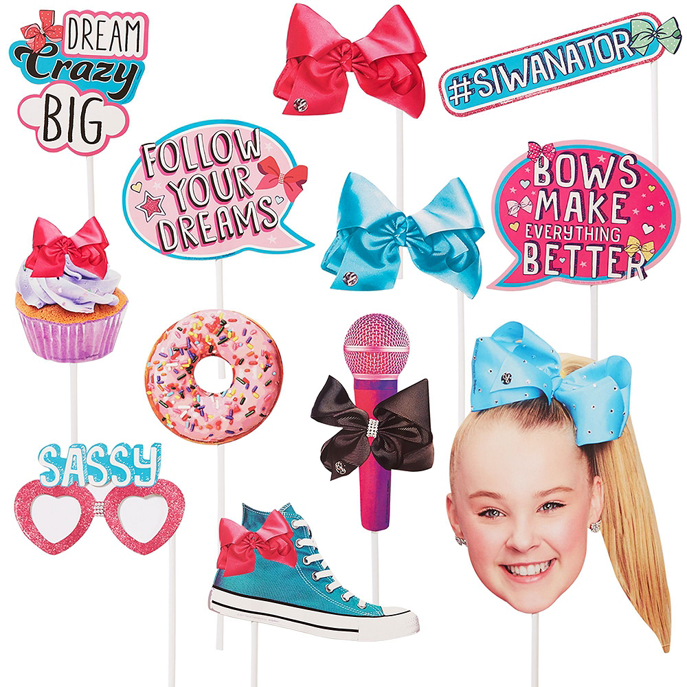JoJo Siwa MEGA Birthday Party Kit for 16 Guests, 94 pieces, Includes Plates, Napkins, Cups, Tablecover, Favor Cup, Photo Props, Tattoos, and Balloons Image #9