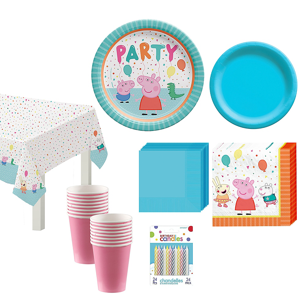 Peppa Pig Tableware Kit for 16 Guests, 59 Pieces, Includes Plates, Napkins, Cups, Candles, and Balloons Image #1