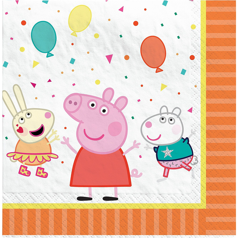 Peppa Pig Tableware Kit for 16 Guests, 59 Pieces, Includes Plates, Napkins, Cups, Candles, and Balloons Image #5