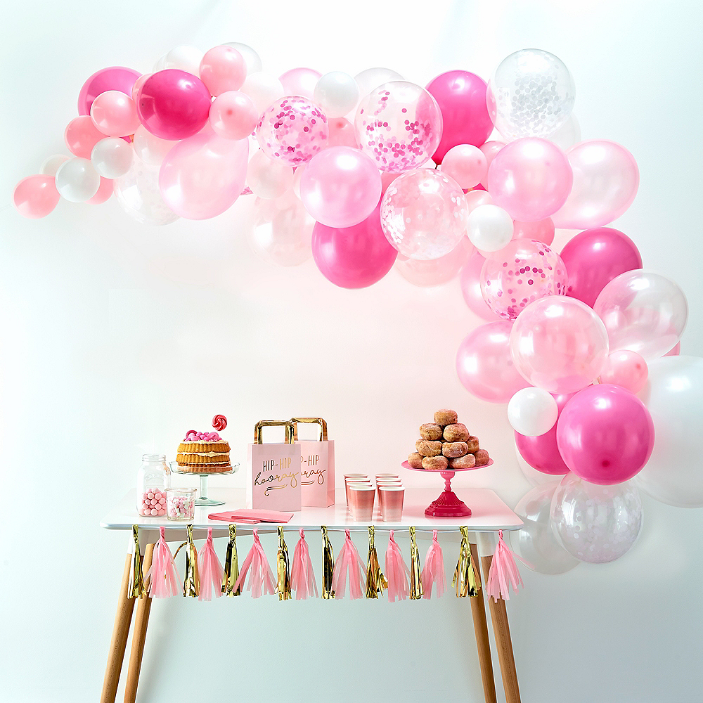 Air-Filled Ginger Ray Pink Balloon Arch Kit 72pc Image #1