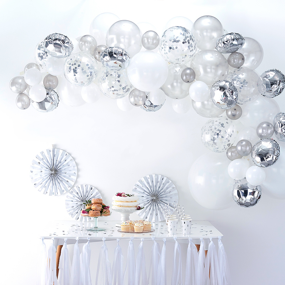 Air-Filled Ginger Ray Silver Balloon Arch Kit 72pc Image #1
