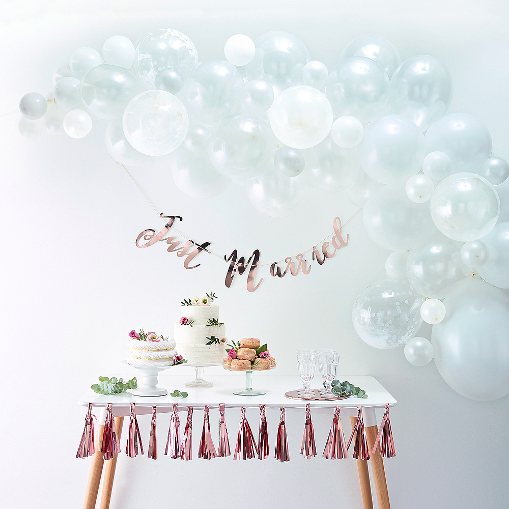 Air-Filled Ginger Ray White Balloon Arch Kit 71pc Image #1