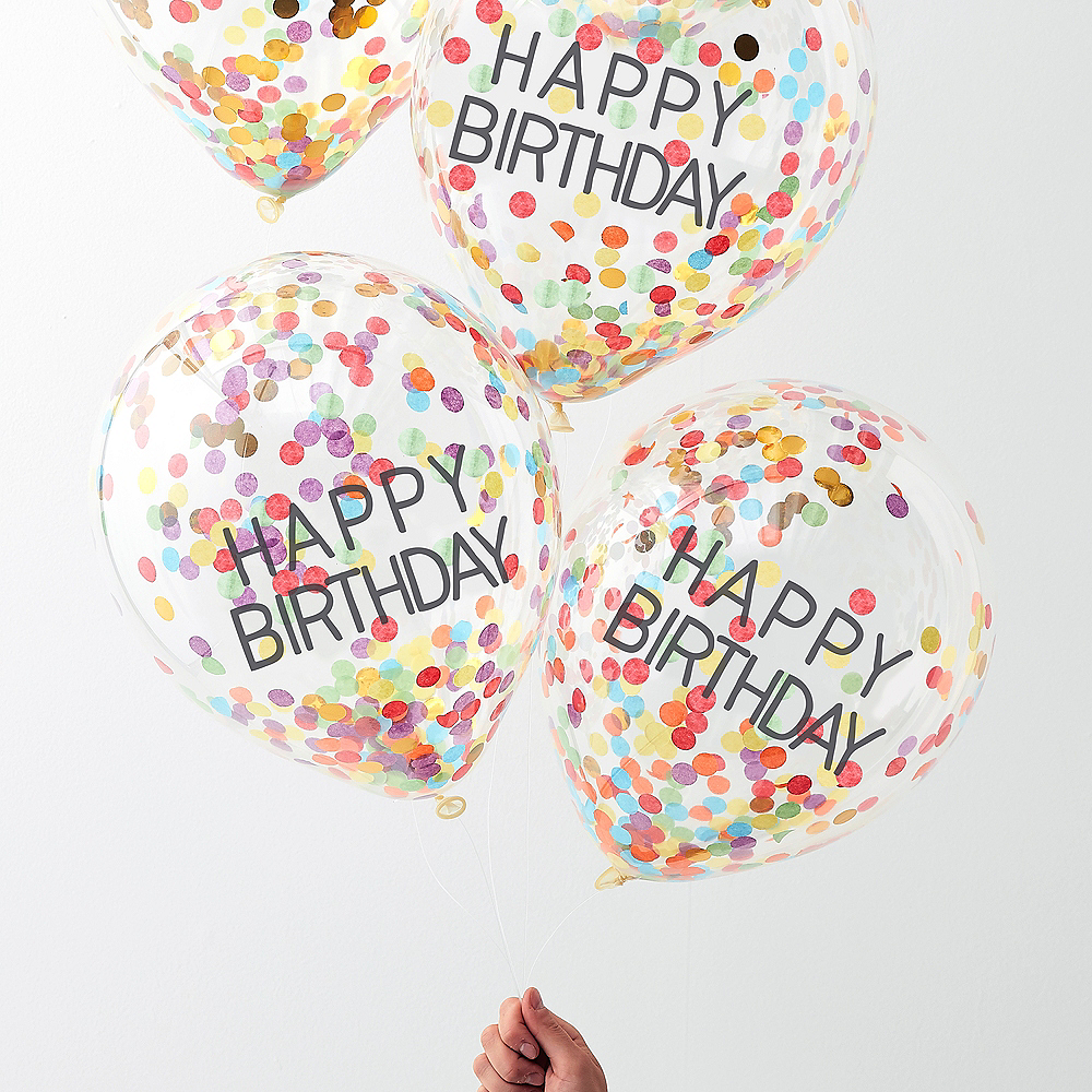 Ginger Ray Rainbow Confetti Happy Birthday Balloons 5ct Image #1