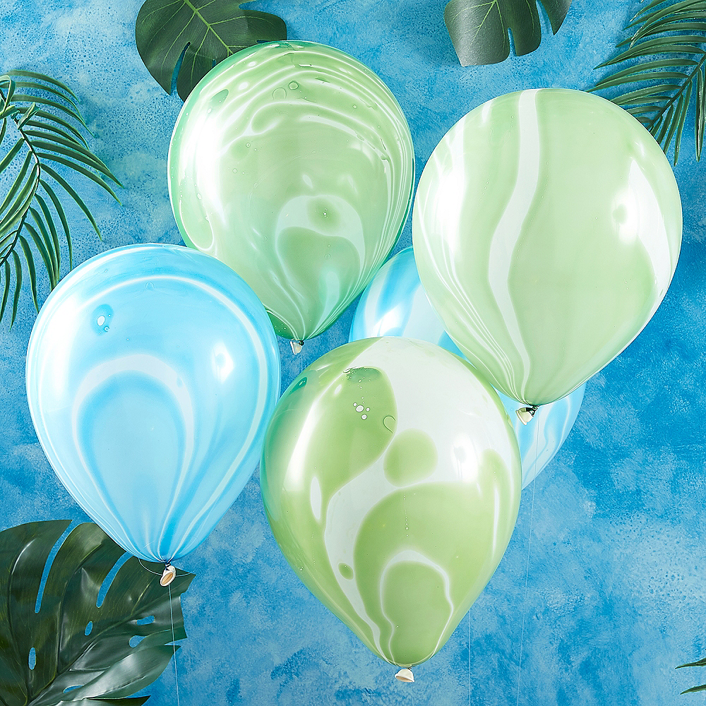Ginger Ray Blue & Green Marble Balloons 10ct Image #1