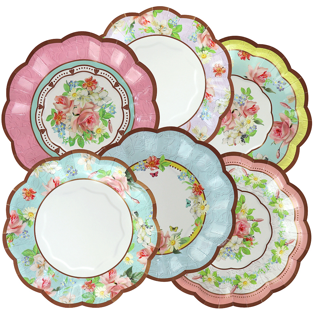 Assorted Floral Tea Party Scalloped Dessert Plates 12ct Image #1