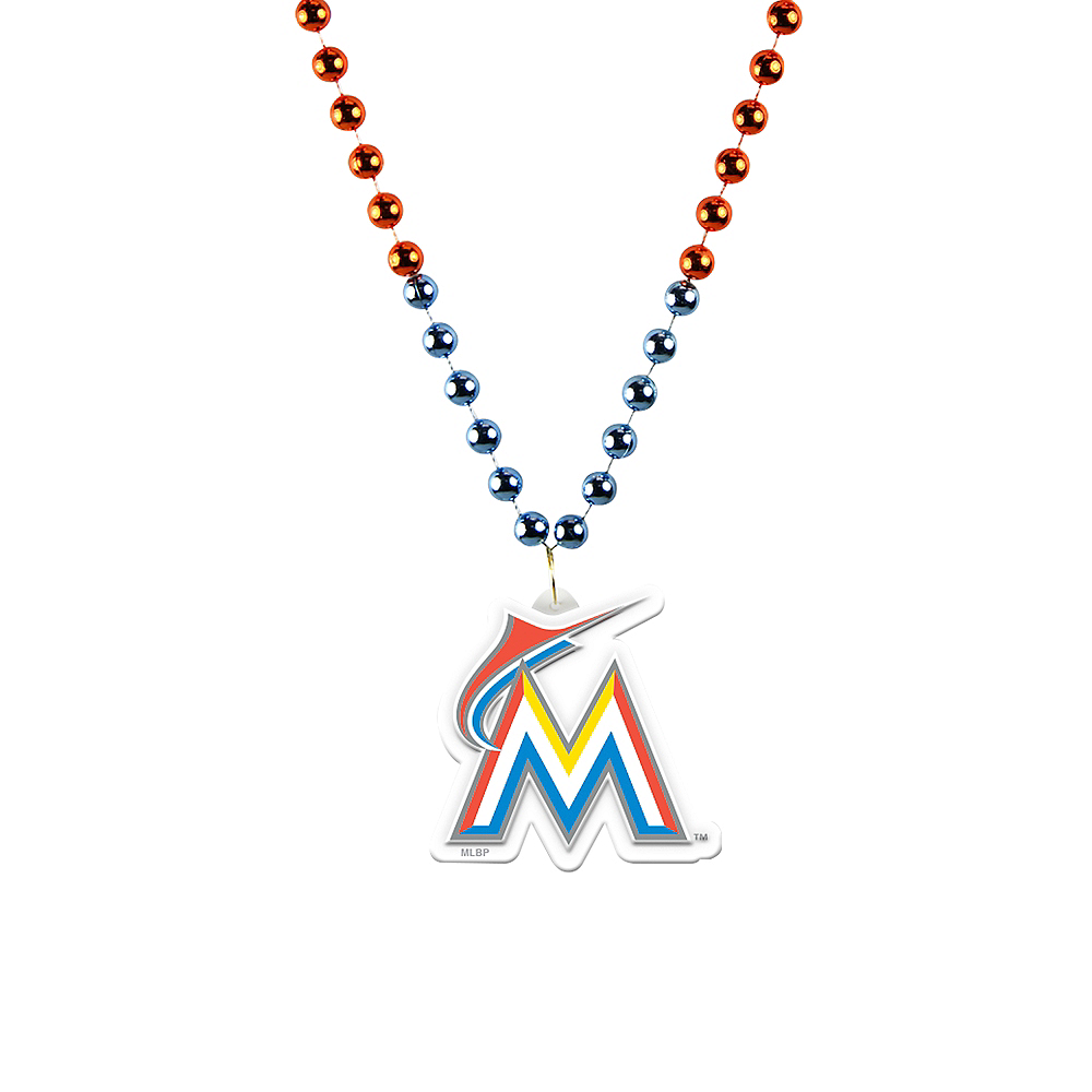 Nav Item for Miami Marlins Pendant Bead Necklace Image #1