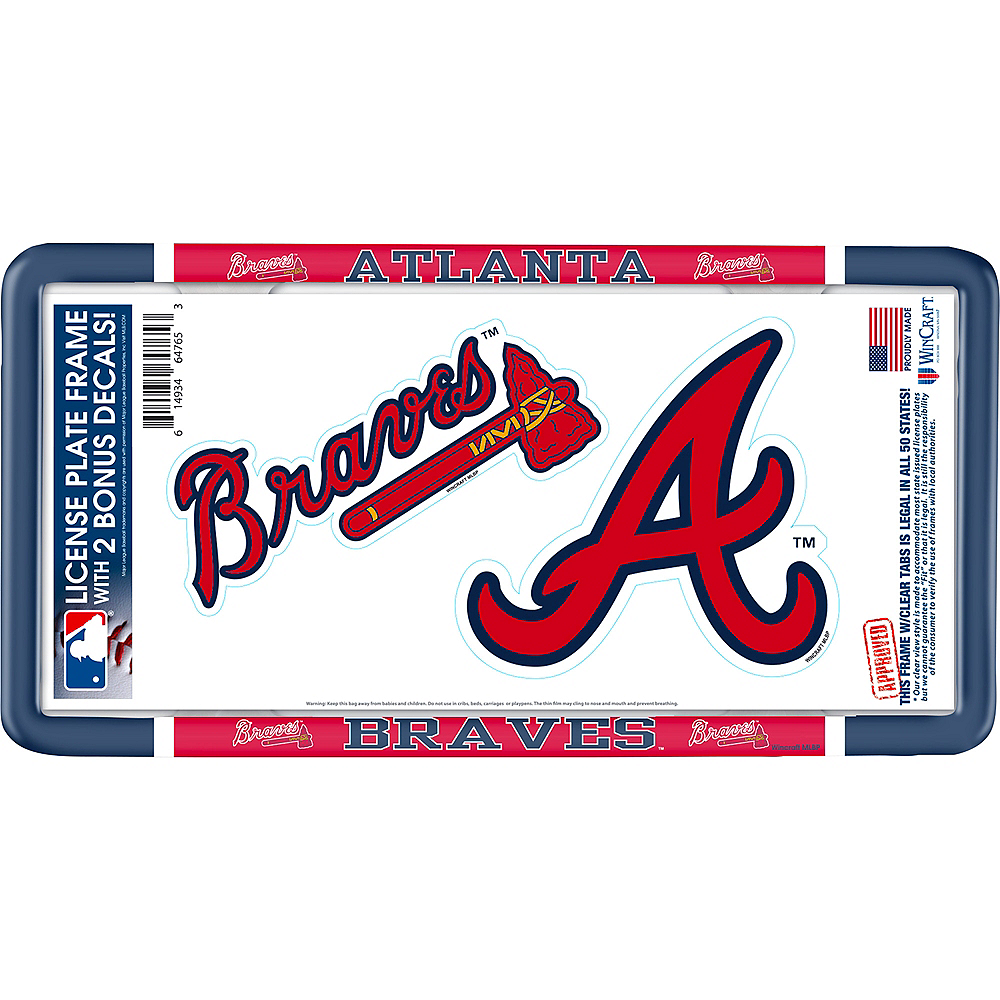 Nav Item for Atlanta Braves License Plate Frame with Decals 3pc Image #1