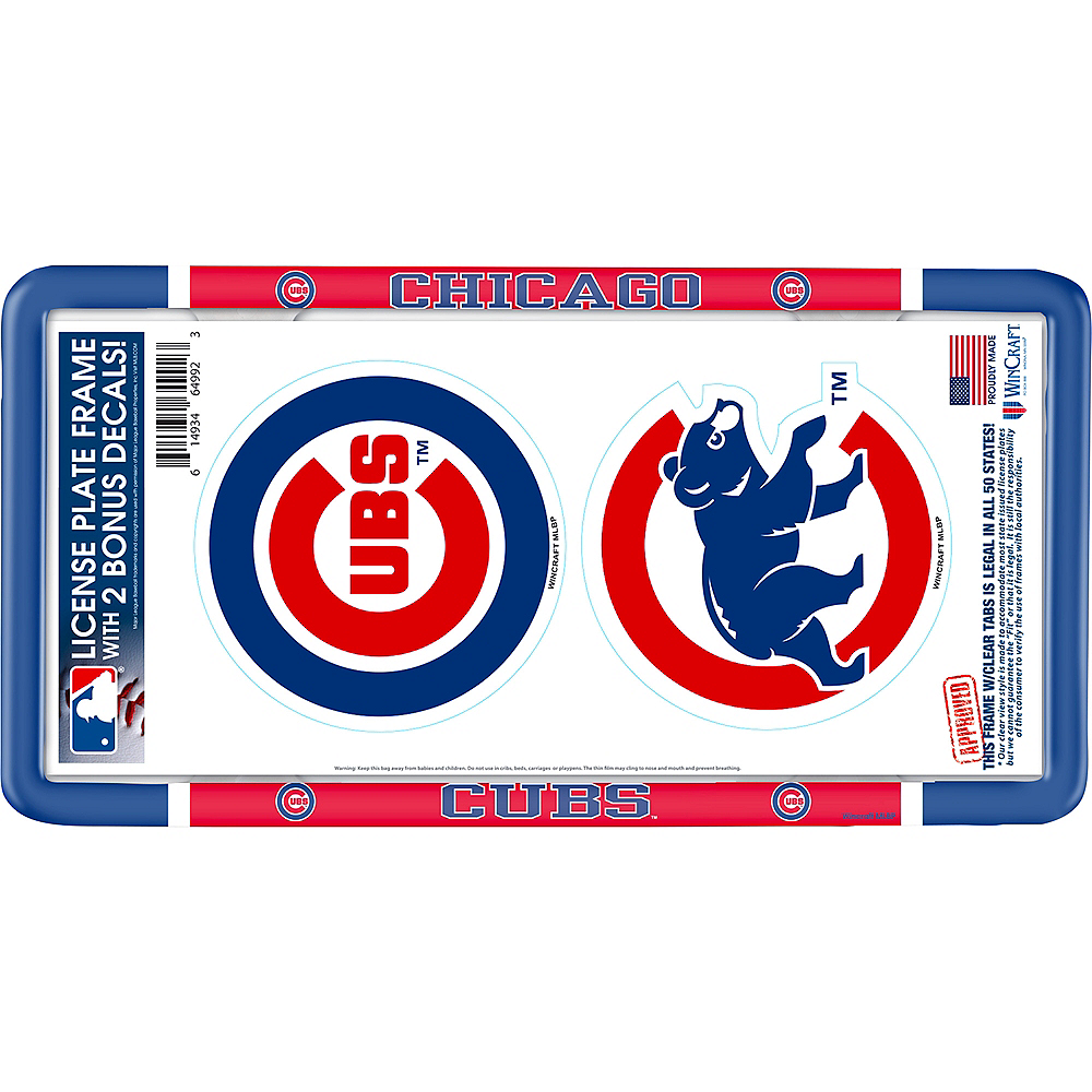 Chicago Cubs License Plate Frame with Decals 3pc Image #1