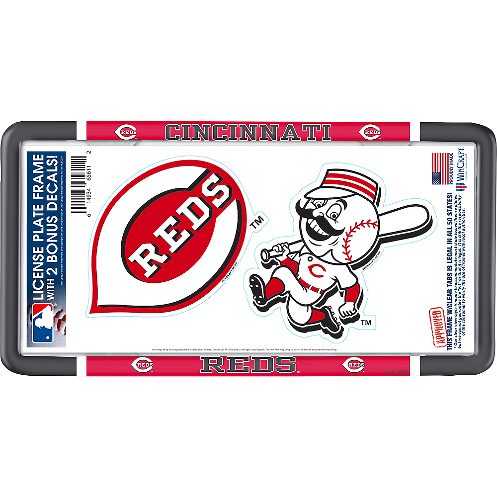 Cincinnati Reds License Plate Frame with Decals 3pc Image #1