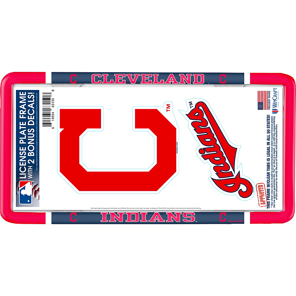 Cleveland Indians License Plate Frame with Decals 3pc Image #1
