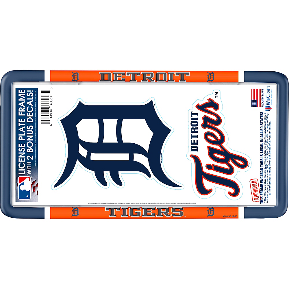 Detroit Tigers License Plate Frame with Decals 3pc Image #1