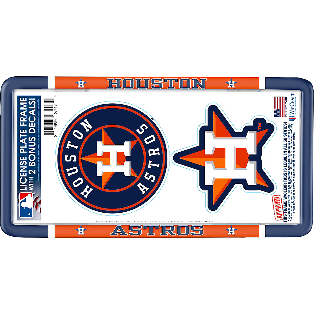 Houston Astros License Plate Frame with Decals 3pc Image #1